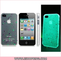 Dot Print Glow-in-the-Dark Plastic Case for iphone 4 4S Transparent