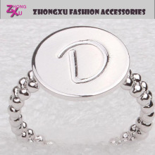 latest wholesale hot sale gold or silver plated custom letter d ring