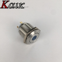 16mm 3/4'' Mounting Hole Waterproof Stainless Steel Blue 12V LED Button Switch Push ON/OFF