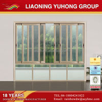High quality modern simple style exterior three track sliding aluminum windows with tempered glass