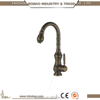 High Quality European Deck Mounted Single Lever Antique Brass Kitchen Faucet Red Kitchen Faucet Gold Kitchen Mixer Faucet Taps