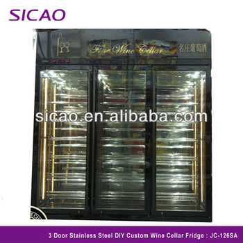 3 Door Commercial Fridge Electric Display Wine Cooler , Stainless Steel Glass DIY Custom Wine Cellar Refrigerator