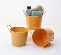 Metal Containers painted tin buckets lightweight decorative pots