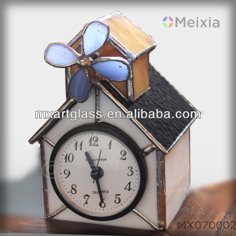 MX70002 tiffany style stained glass house shape with wind mill clock for table stand home decoration wholesale