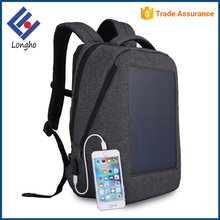 Multifunction ergonomic school solar laptop bag solar power anti theft zipper wholesale solar backpack with USB cable