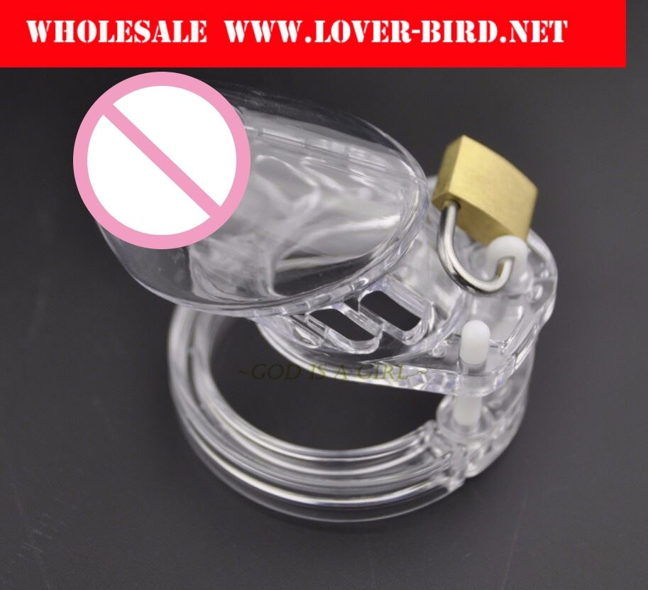 Standard Size Clear Male Chastity Device Penis Lock Cock Cage With Brass Lock & Locking Number Tags sex Products Adult Toy