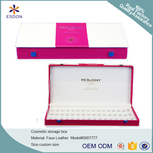 custom PU leather cosmetic essential oil packing box for promotion with foil logo decoration