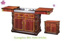 Luxury kitchen wooden flambe trolley cooking cart with 2 gas for hotel & restaurant