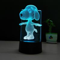 Snoopy 3D Lamp Night Light Touch Table Desk Lamps, 7 Color Changing Lights with Acrylic Flat & ABS Base & USB Charger