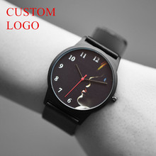 BAOSAILI Fashion Wrist Watch Classical Rounded Dial Accepted Your Photo OEM Watch Japan Quartz Genuine Leather Watch