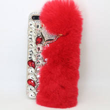 Luxury Fur Fox Mobile Phone Case Cover for iPhone 8 for iPhone 7 Plus Diamond Bling Case