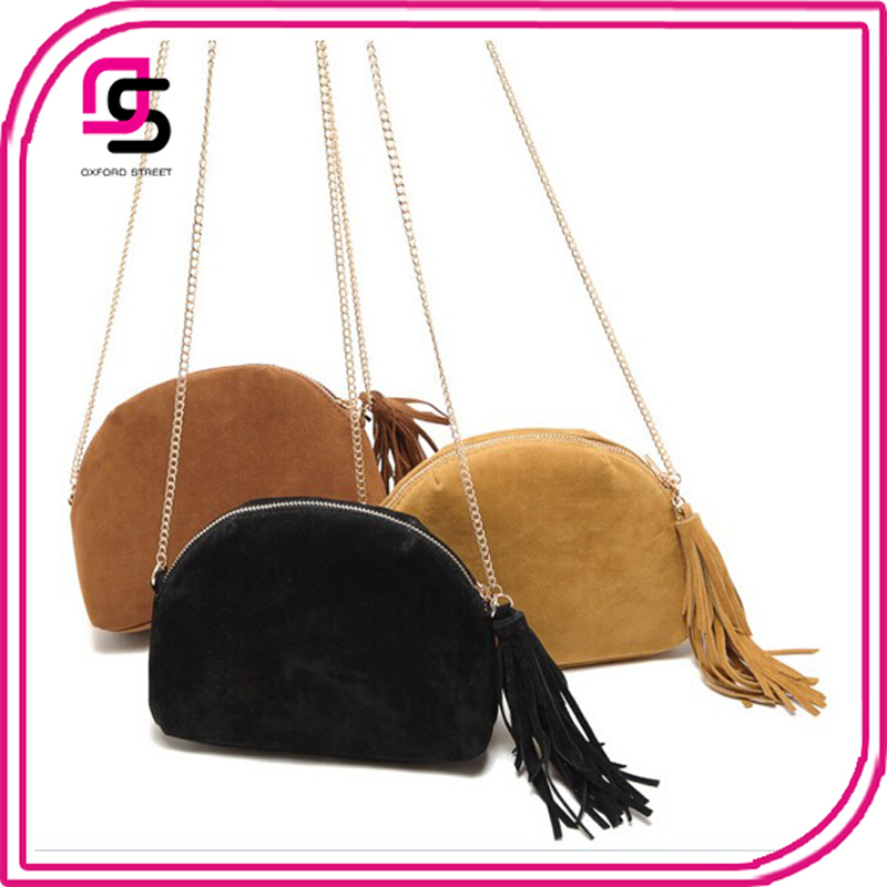 newest fashion suede semicircle fringed chain crossbody bag