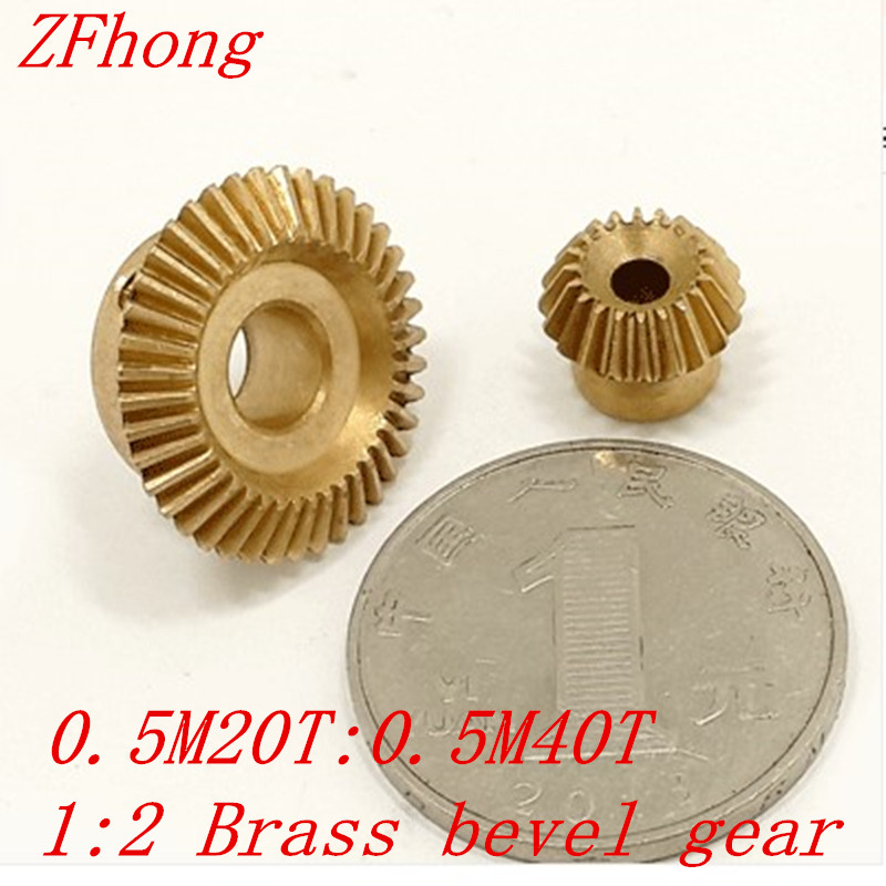 1 pair 1:2 brass bevel <strong>gear</strong> 0.5M20T 0.5M40T 90 Degree Brass Right Angle Transmission parts machine parts