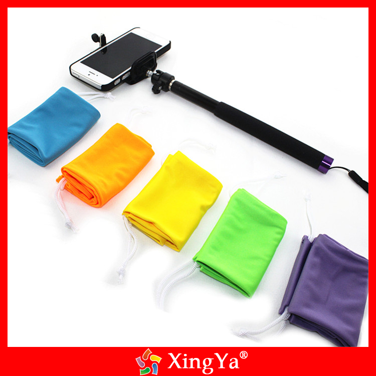 Customized selfie stick pouch, microfiber drawstring self time rod bag