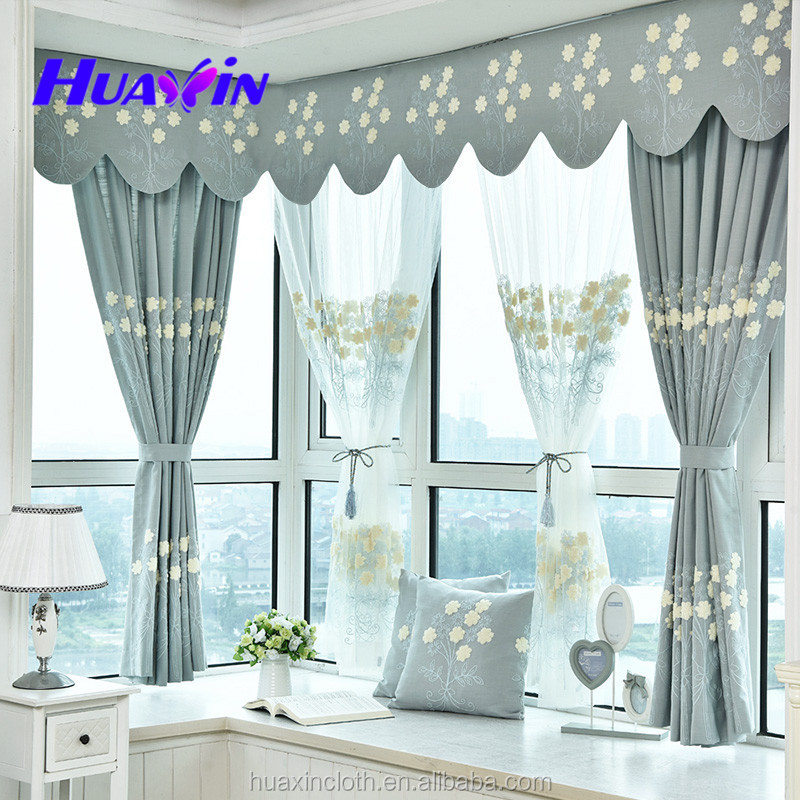 Luxury decorative towel embroidery linen curtain fabric for bedding room