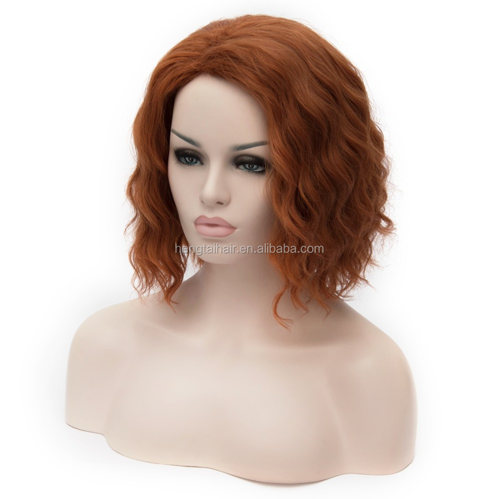 Marvel's The Avengers Black Widow Red Brown Curly Cosplay Short Wavy Wigs
