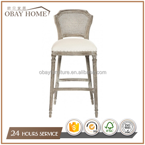 Antique Upholstered Wooden Bar Stool Cane French Style Oak Wood Bar chairs with Rattan back