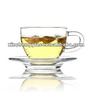 100ml 2012 new design crystal glass coffee cup set with handle and saucer