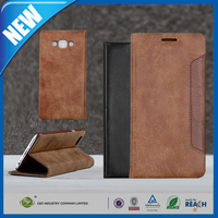 C&T Fashion pu leather folio wallet flip cover case for samsung galaxy e7