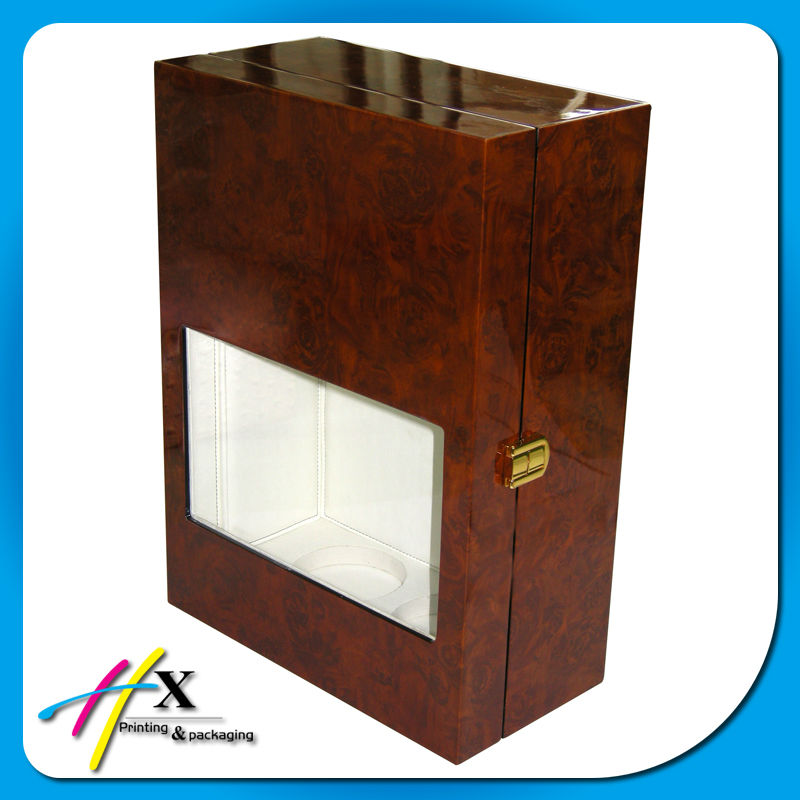 High end wooden wine box with glass window