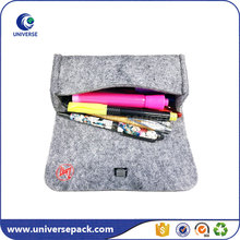 Custom high end drawstring felt pen pouch with embroidered logo