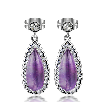 Newest Design Natural Gemstone Earring Necklace Earring Sets Purple Gemstone Earring Jewelry
