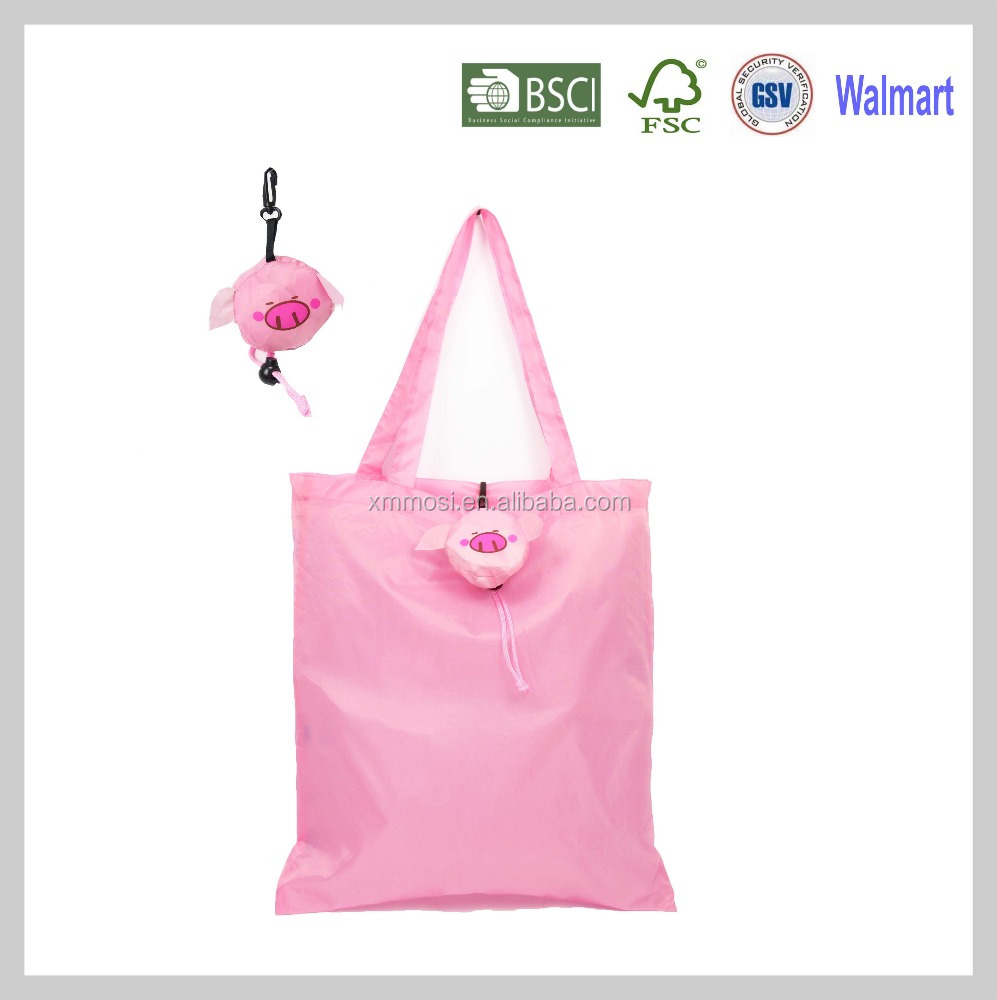 Pig reusable fashion foldable vinyl tote shopping bag in pouch for shopping