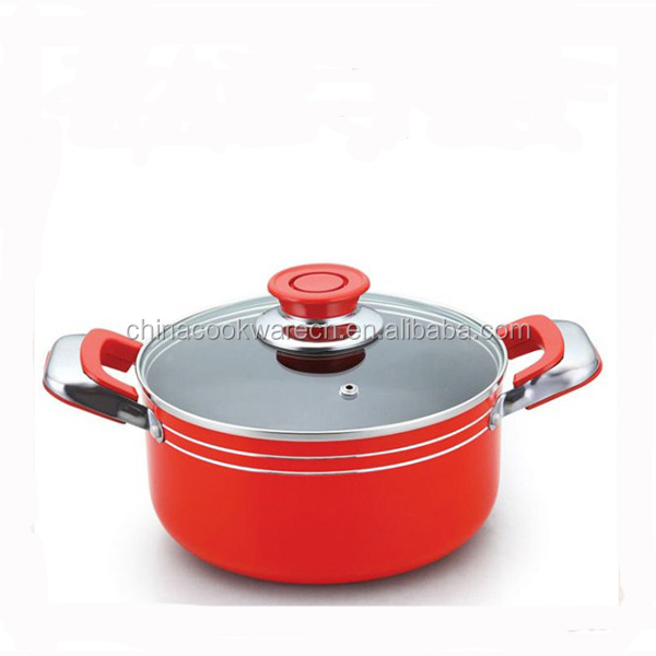 Red Color Stretching Aluminum Non-stick Cooking Pots