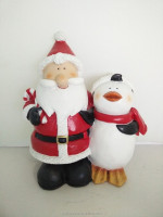 Red color santa claus and little penguin for gifts resin sculpture