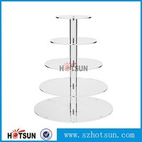 Round 5 Tiers Clear plexiglass wedding cake display stand/acrylic cake pop display