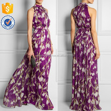Lastest Manufacturer Women Printed silk-chiffon dresses gown, printed maxi dresses, 2018 Spring collection long dress (TW0206MD)