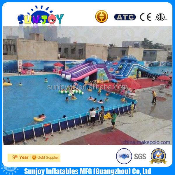 2016 Hot sale rectangular metal frame pool outdoor swimming pool feature walls High quality metal frame pool for sale