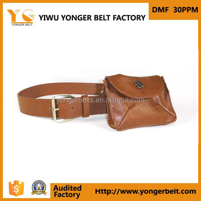 Fashion Popular Products Brown Pu Fancy Polyester Belt With Wallet