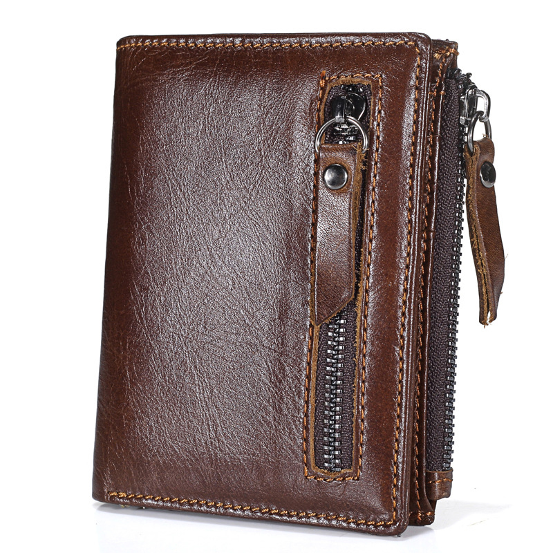 Elegant black brown short folding genuine leather zipper vintage wallet credit card holder for <strong>men</strong>