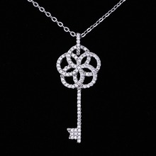 2018 women white gold plated pendant necklace crystal jewelry