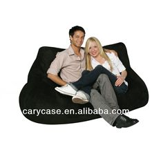 adult two seater bean bag chair and ottoman black