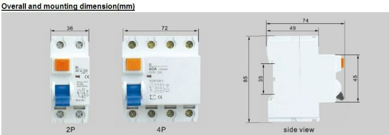 2017 High Quality ID Residual Current Circuit Breaker rccb
