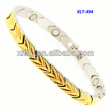 Charming gold titanium germanium bio energy magnetic bracelet for Arthritis relief