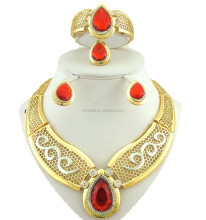 wholesale unique gold plated jewelry 18k display with red diamond