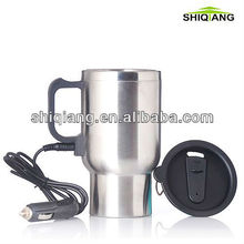 16oz 450ml 12V double wall stainless steel electric heated travel mug auto mugs car mugs
