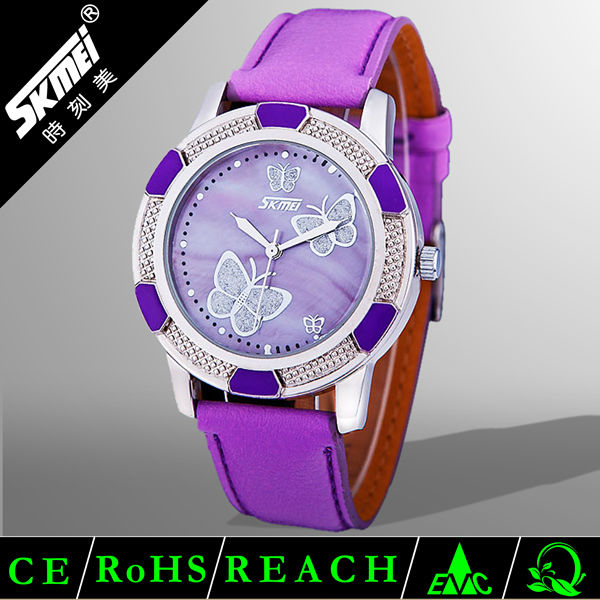 butterfly vintage fashion lady genuine leather watch