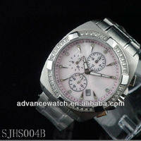 top sale japan movement watches price, all stainless steel style with 6 hands and calendar display, with shiny crystal