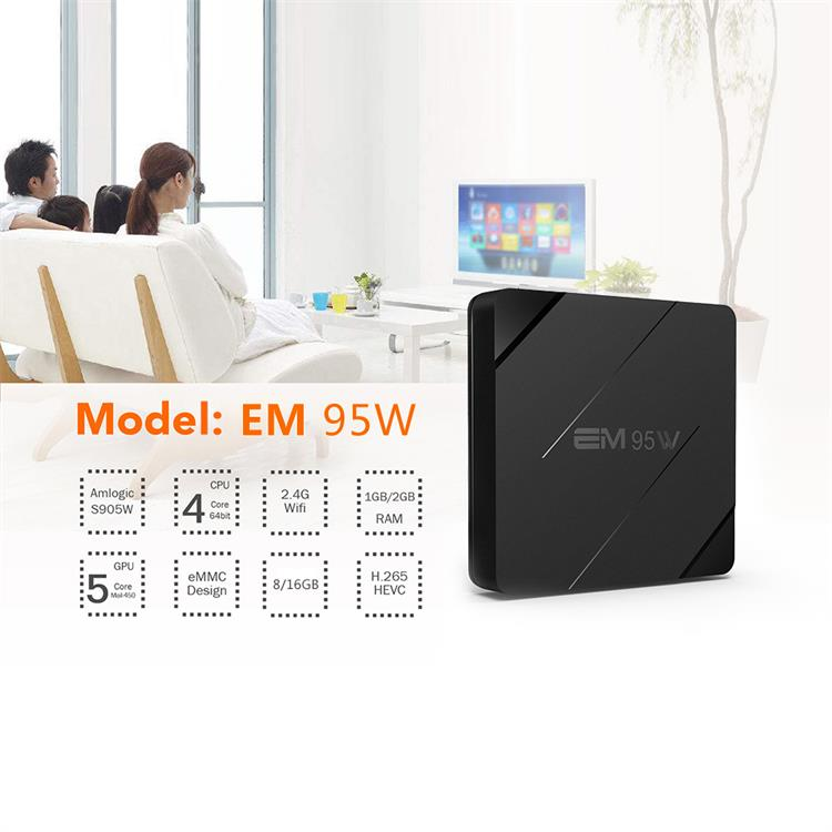 EM95W Quad Core Amlogic S905W Android 7.1 TV Box 2.4G WIFI