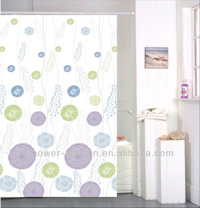 polyester pongee shower curtain purple green bathroom curtain