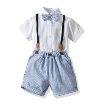 Wholesale kids summer boutique 2 piece clothing set with bowknot for birthday gift