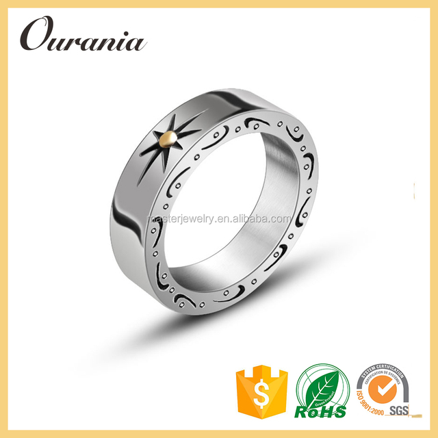 Fashion Ring Jewelry Mens Engraved Titanium Rings Wedding Bands for Sale