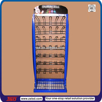 TSD-M317 Hot sale retail store floor battery display rack,display rack for hanging items,floor display stand for battery