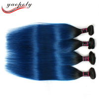 Factory Price silky straight Malaysian remy Human Hair Extensions cheap 8A unprocessed virgin 1B/Blue Ombre hair weave bundle