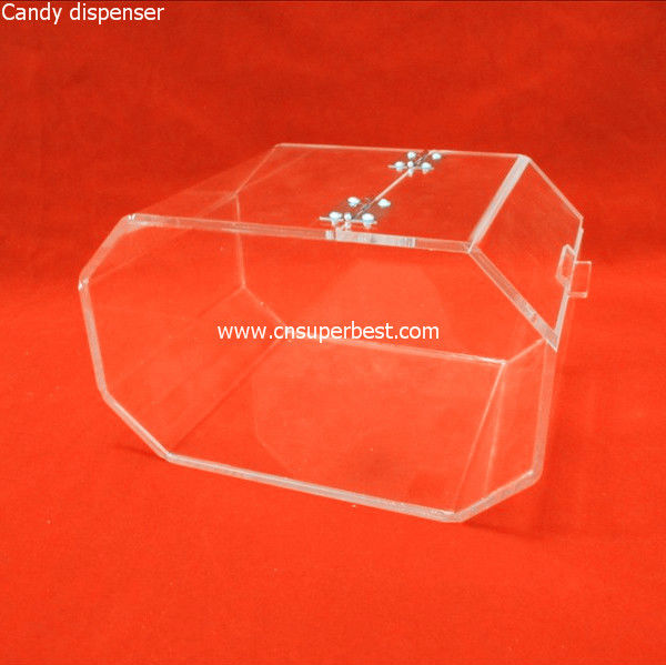 Wholesale large transparent acrylic candy dispenser with hinged lid