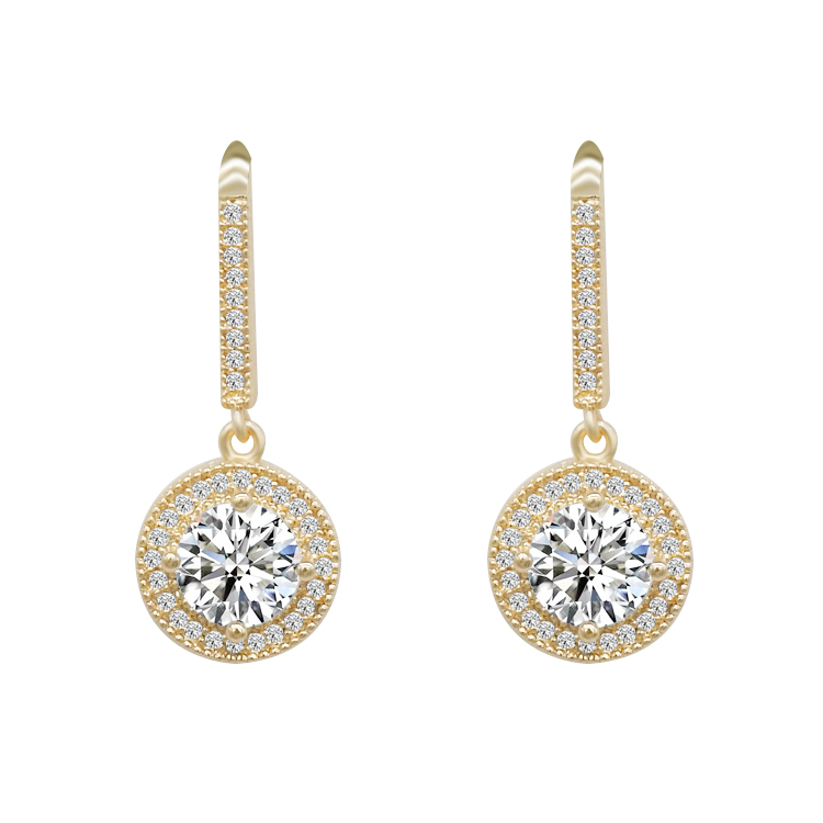 luxury 18K Gold Plated Cubic Zirconia diamond gold earrings <strong>jewelry</strong> For Women